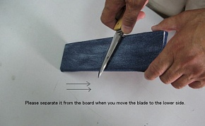 The blade is changed to the counter direction. When you change the blade direction, please separate it from the board. Your knife blade can be prevented from dulling.